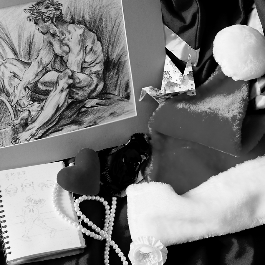 Christmas 2013: Study of François Boucher's drawing, santa hat, and knick knacks on graduation gown.