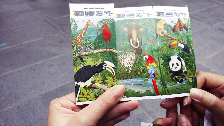 Matching tickets for the Singapore Zoo and River Safari.