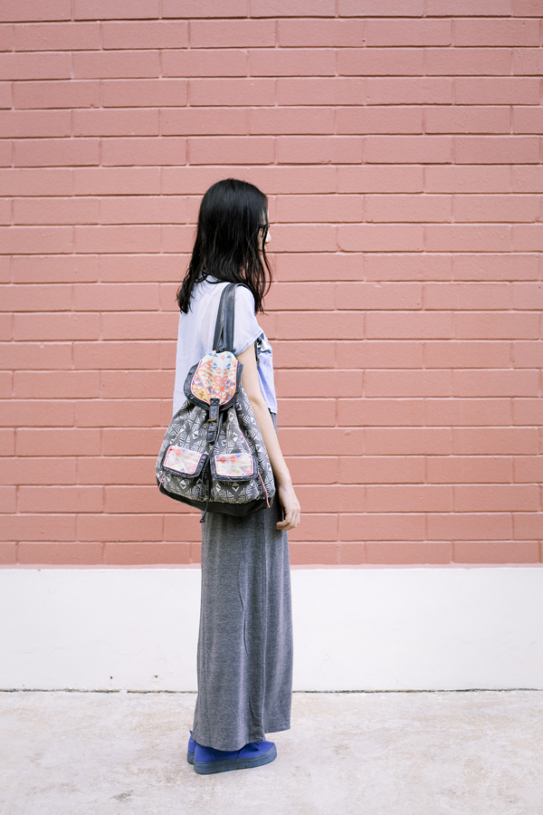 With my tribal geometric backpack from T-shirt & Jeans.