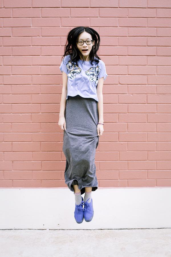 Levitating shot wearing Forever 21 grey maxi dress, NA NI tiger crop top, Accessorize striped fox socks, H&M blue platform shoes.