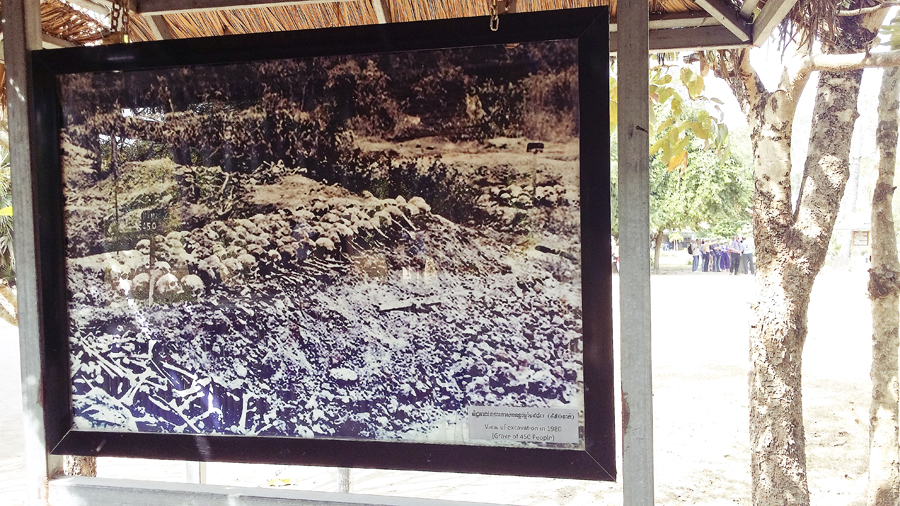 Photograph of the mass grave after uncovering at the Choeung Ek Killing Fields in Phnom Penh, Cambodia.