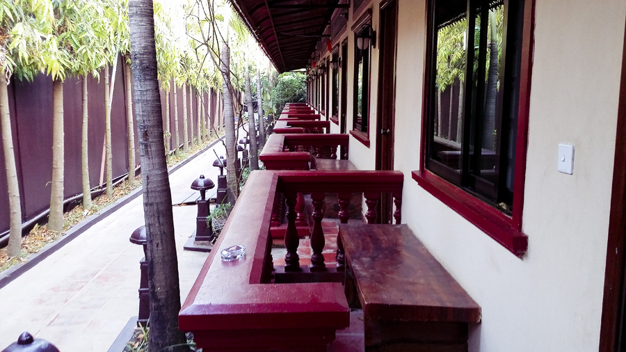 Walkway of the standard rooms at the Lotus Lodge, Siem Reap, Cambodia.