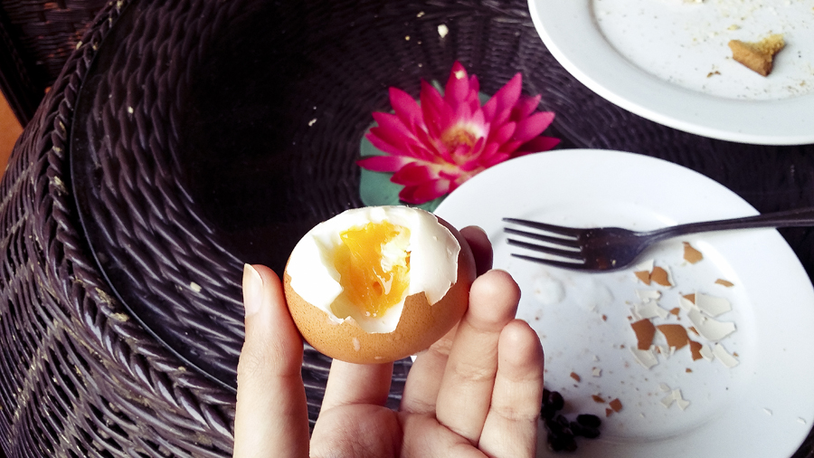 Half-boiled egg for breakfast at the Lotus Lodge, Siem Reap, Cambodia.