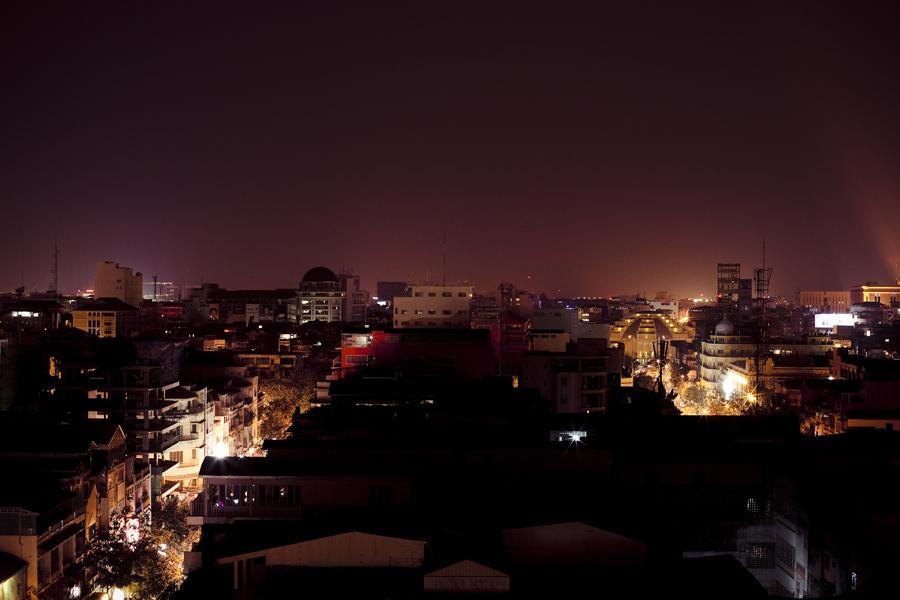 Night skyline in Phnom Penh, Cambodia.