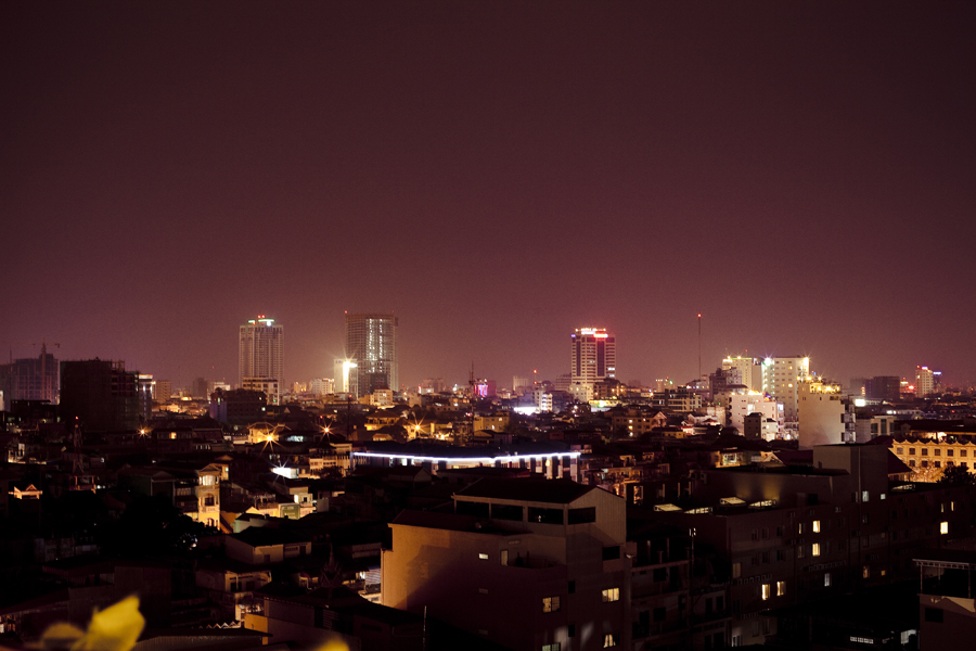 Night skyline in Phnom Penh, Cambodia.