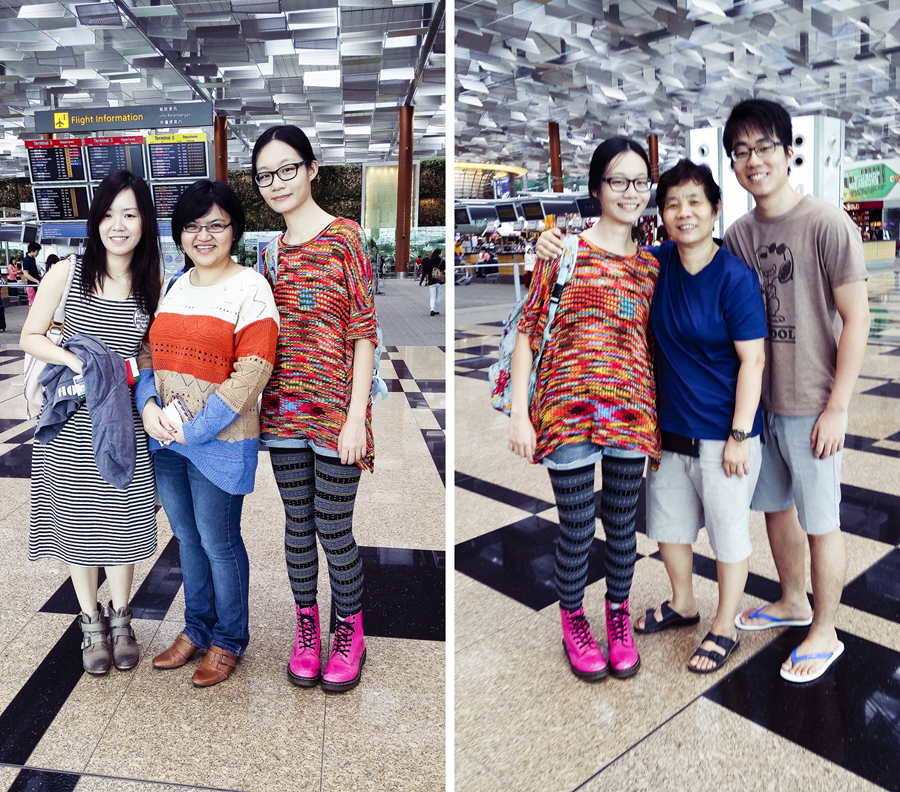 Pictures with friends and family at Changi Airport.