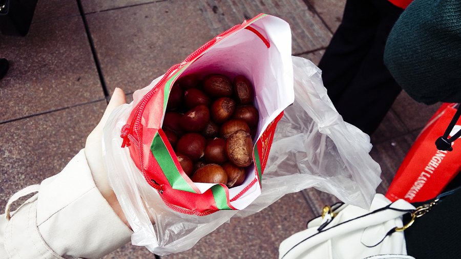 A bagful of Roasted Chestnuts at Nanjing Road, Shanghai.