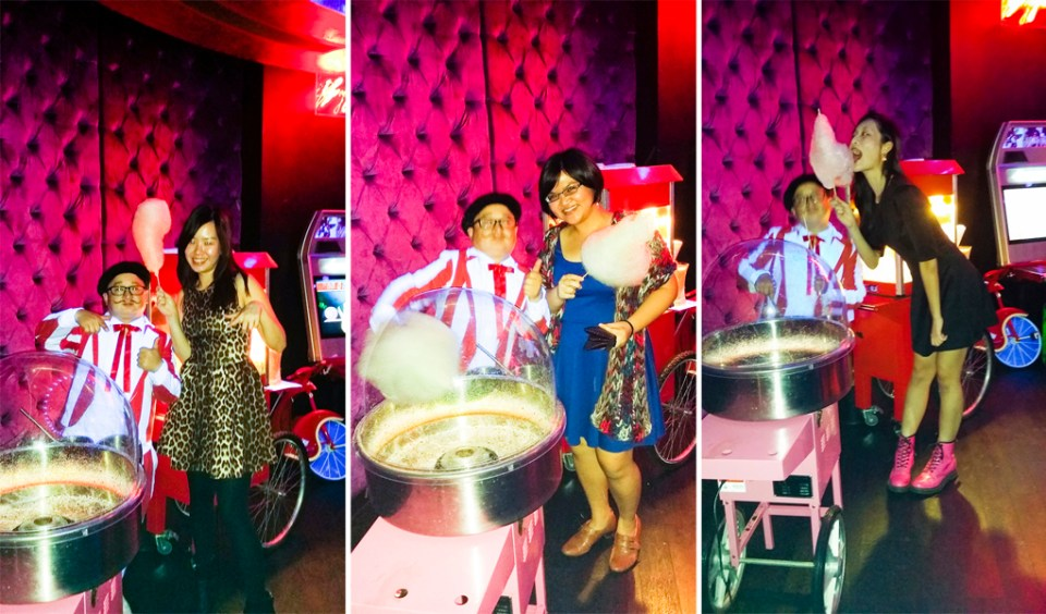 Ade, Puey, and Ren with free candy floss at Cirque le Soir nightclub in Shanghai.