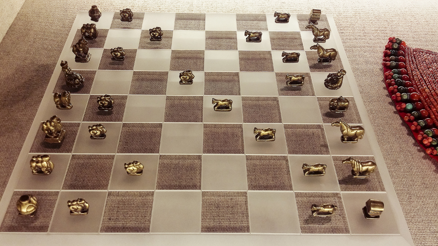 Mongolian brass chess pieces from the Qing Dynasty (1644-1911) at the Shanghai Museum.