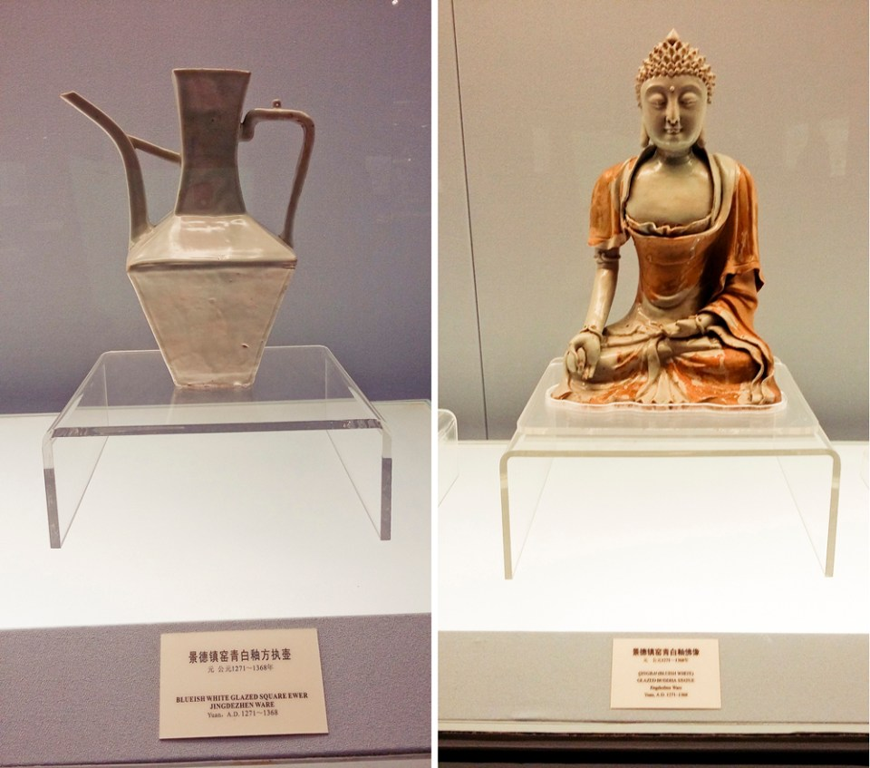 Left: Blueish white glazed square ewer Jingdechen Ware from the Yuan Dynasty (1271-1368 AD). Right: Glazed Buddha Statue Jingdechen Ware from the Yuan Dynasty at the Shanghai Museum.