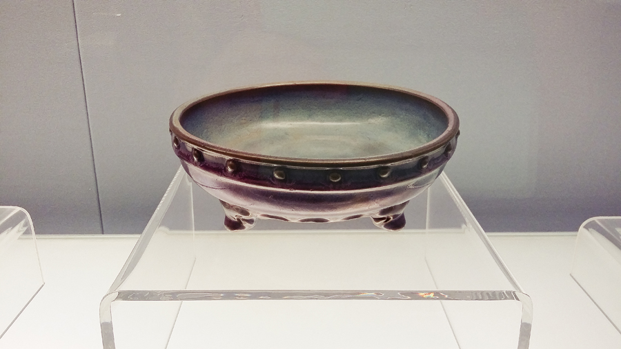 Rose-red glazed drum-shaped washer Jun Ware from the Northern Song Dynasty (960-1127 AD) at the Shanghai Museum.