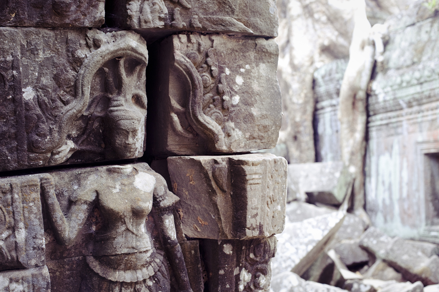 Bas-relief of an Apsara at Ta Prohm, Cambodia.