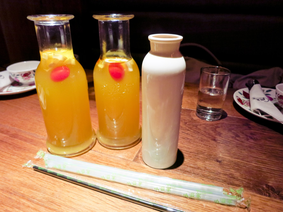 Drinks at at Grandma's Kitchen in Shanghai. 外婆家(南京西路店). Photo from Ade.