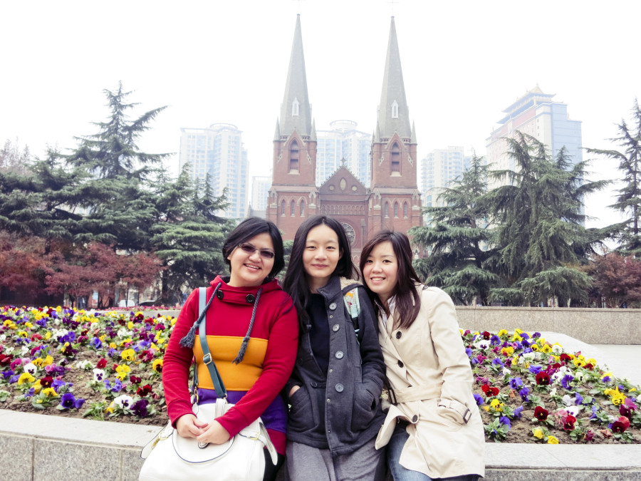 Puey, Ren, and Ade in front of the St. Ignatius Cathedral, Shanghai. Photo from Ade.