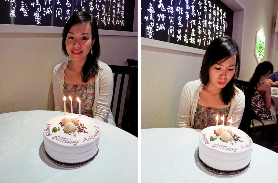 Ade trying to blow out trick candles on her birthday cake from Pine Garden's Cake at East Ocean Teochew Restaurant.
