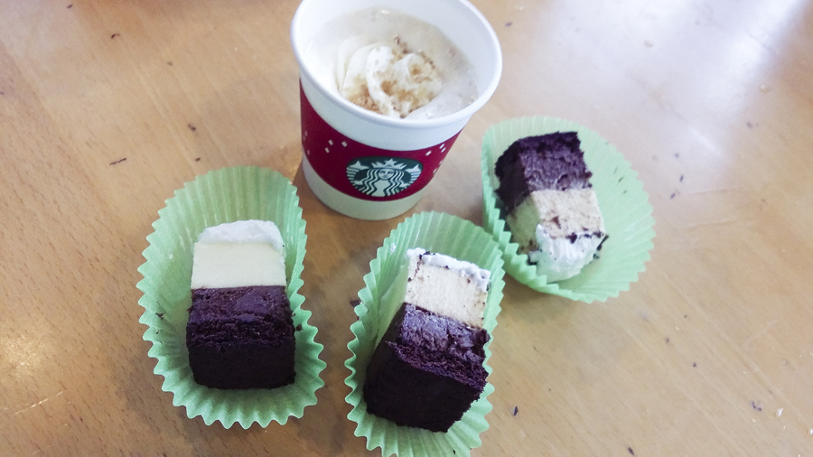 Hot beverage and cake samples at Starbucks in West Lake, Hangzhou.
