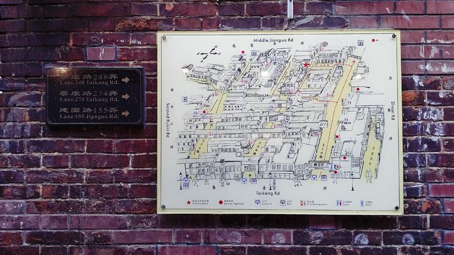 Map at Tian Zi Fang, Shanghai.