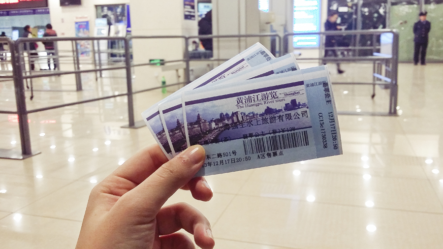 Tickets for the ferry cruise of the Bund at night, Shanghai.