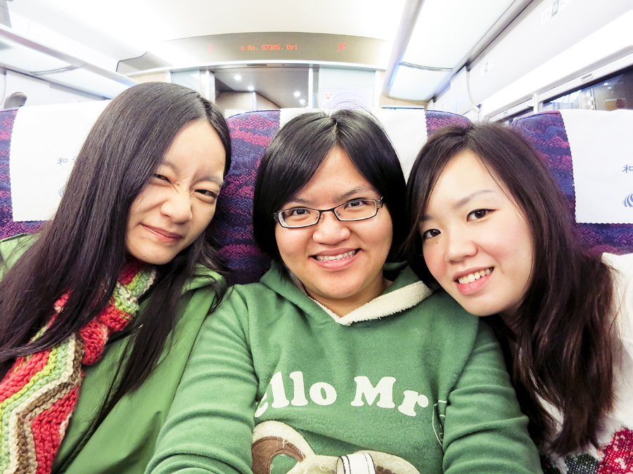 Ren, Puey, and Ade on a train from Shanghai to Hangzhou. Photo by Ade.