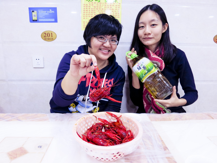 Puey and Ren and crayfish in Shanghai.