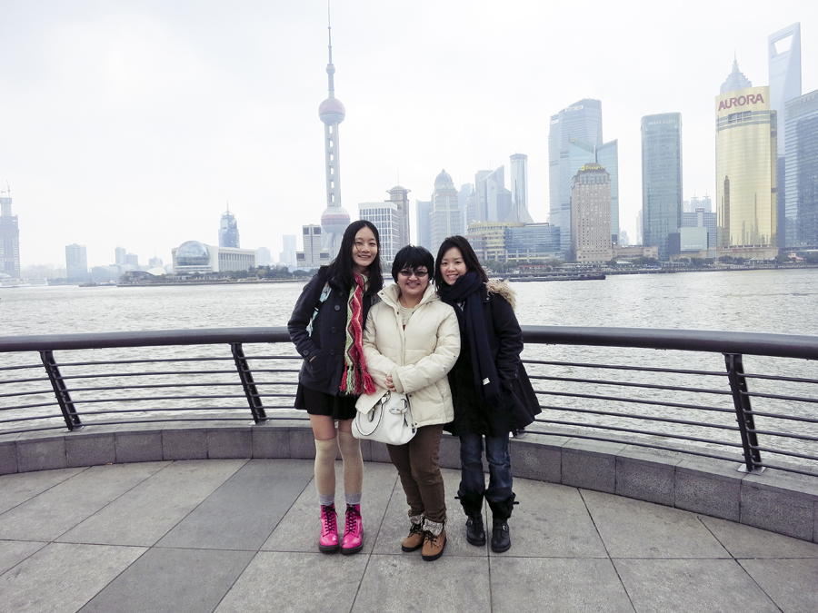 Ren, Puey, and Ade at the Bund, Shanghai. Photo from Ade.