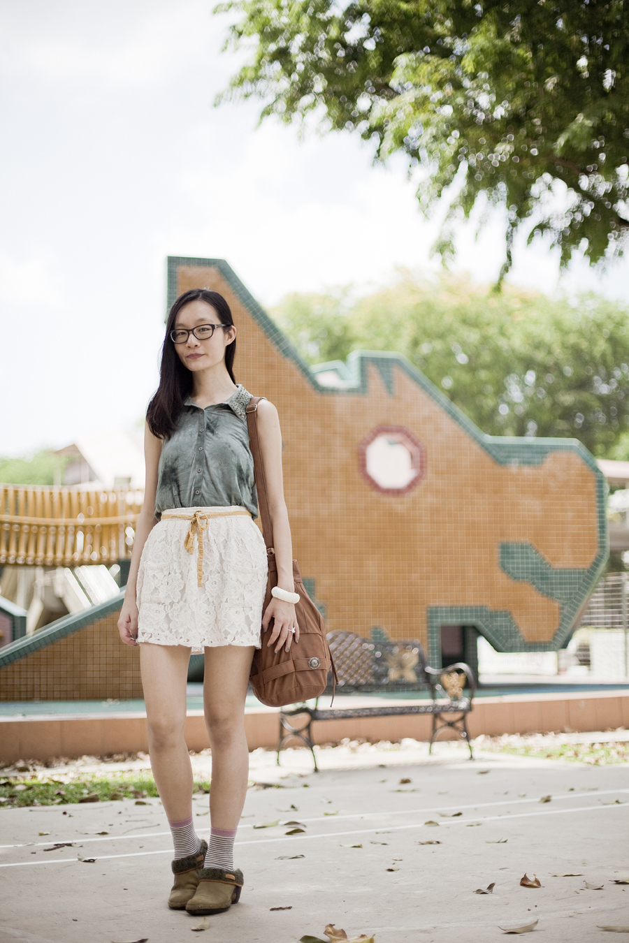 Outfit #ootd details: Urban Outfitters studden collar sleeveless green tie-dye top, Forever 21 cream lace skirt, Accessorize striped socks, Merrell knit luxe clogs in olive green, Gap prescription glasses, Gentle Fawn brown leather hobo bag.
