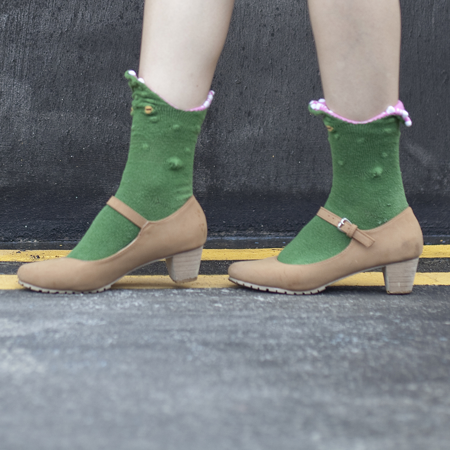 Green crocodile socks from The Sock Market, brown mary jane heels from Mixit.