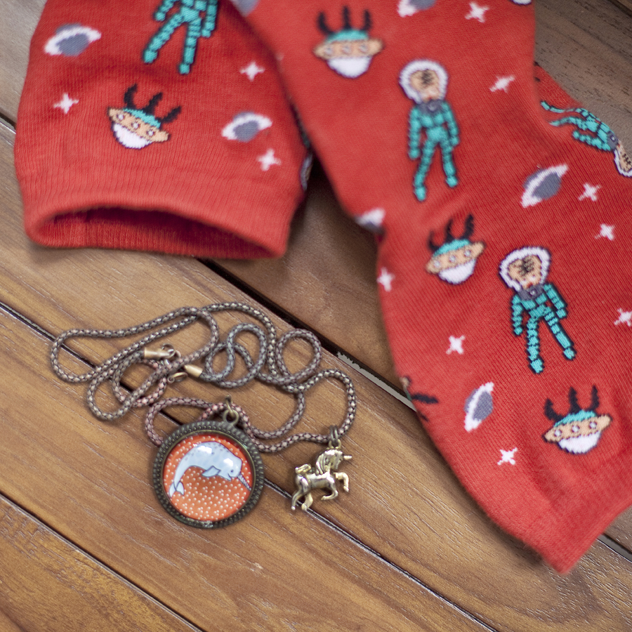 Outfit of the day (#ootd): Paper Sparrow orange narwhal necklace, Taobao red quirky alien socks.