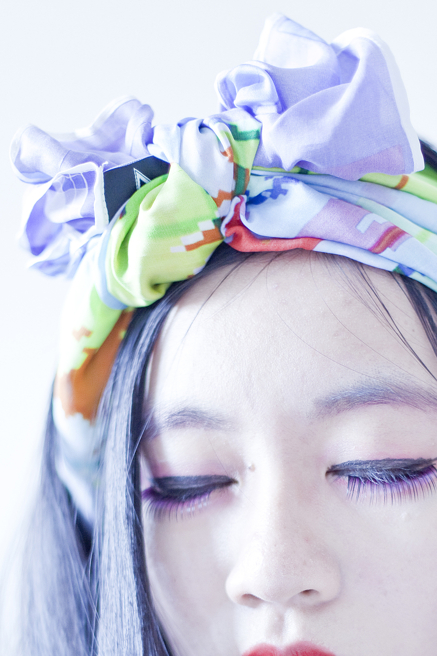 Self portrait outfit details: RV Designs Duck Hunt 100% Habutai silk scarf, K-Palette eyeliner and eyelash glue.