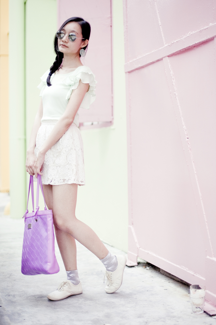 Pastel outfit: Sixties Inspired peppermint chiffon blouse, Forever 21 lace skirt, Nine West purple tote, Forever 21 filigree earrings, Sammy Icon grey swallow socks, Cotton On beige lace-ups. Photo assisted by Yuunsama.