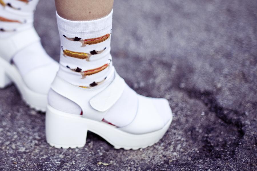 White outfit details: Taobao white hotdog socks, Taobao white platform sandals.