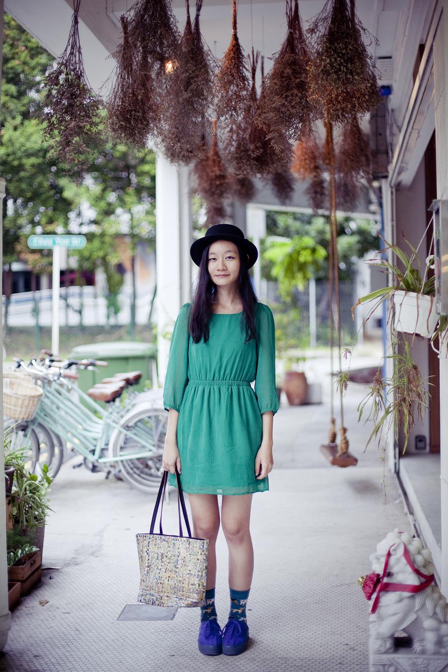 Outfit details: Forever 21 green chiffon dress, black Taobao hat, teal Taobao dog pattern socks, blue H&M platform shoes.