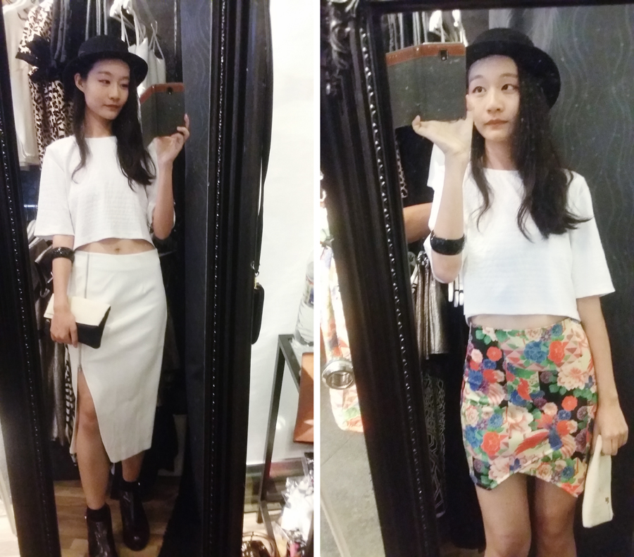 Fitting Room photos trying out skirts at the WYLD shop. Wearing white textured crop top from Bec & Bridge c/o Shopbop.