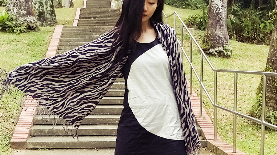 Zebra shawl and black and silver cutout dress from Hypnosis.