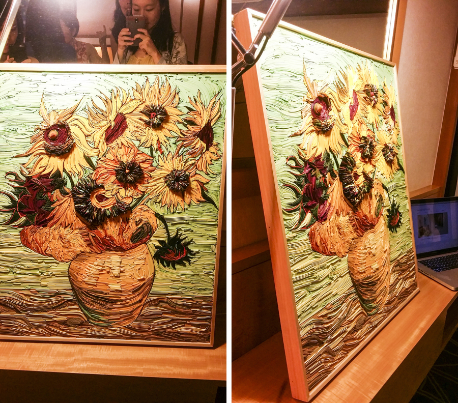 Layer Sunflower by Lee Seung Oh, paper painting at the Bank Art Fair 2014 in Singapore.