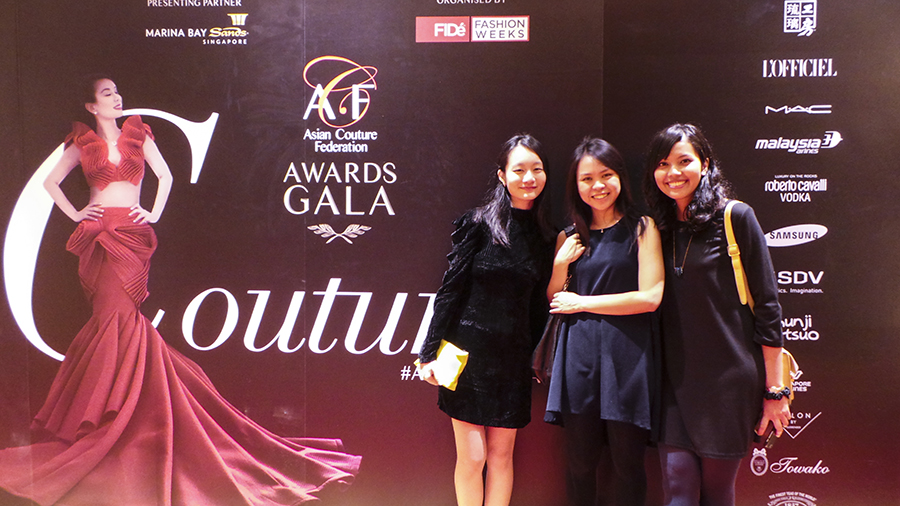 Ren, Ruru, and Shasha at the Asia Fashion Awards Gala Couturista Fashion Party at the Marina Bay Sands.