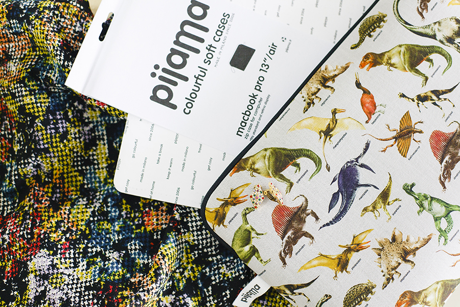 Bejeweled clip on earrings and Jurassic Poster laptop sleeve from Pijama c/o Shopbop.