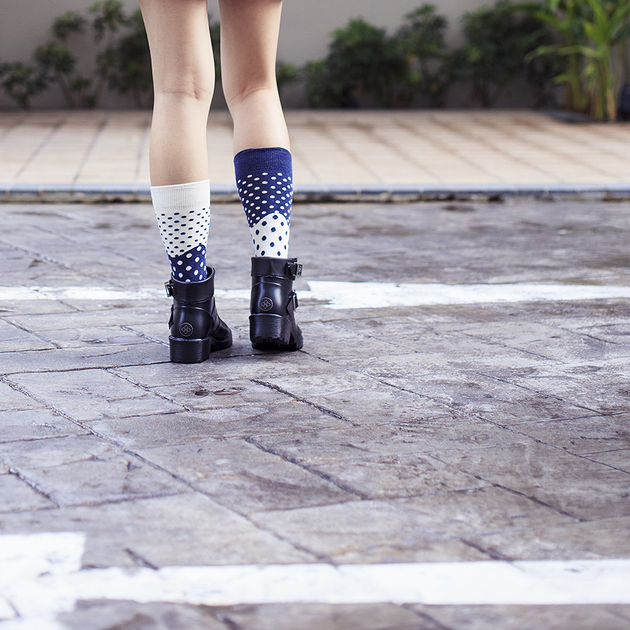 Half Dot navy and cream socks from Anonymism c/o Shopbop, Dav Liverpool Rain Booties in black c/o Shopbop.