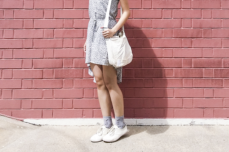 Modcloth bicycle print high low dress, canvas sling bag, Taobao grey spacemen in space socks, Cotton On tan lace-ups.