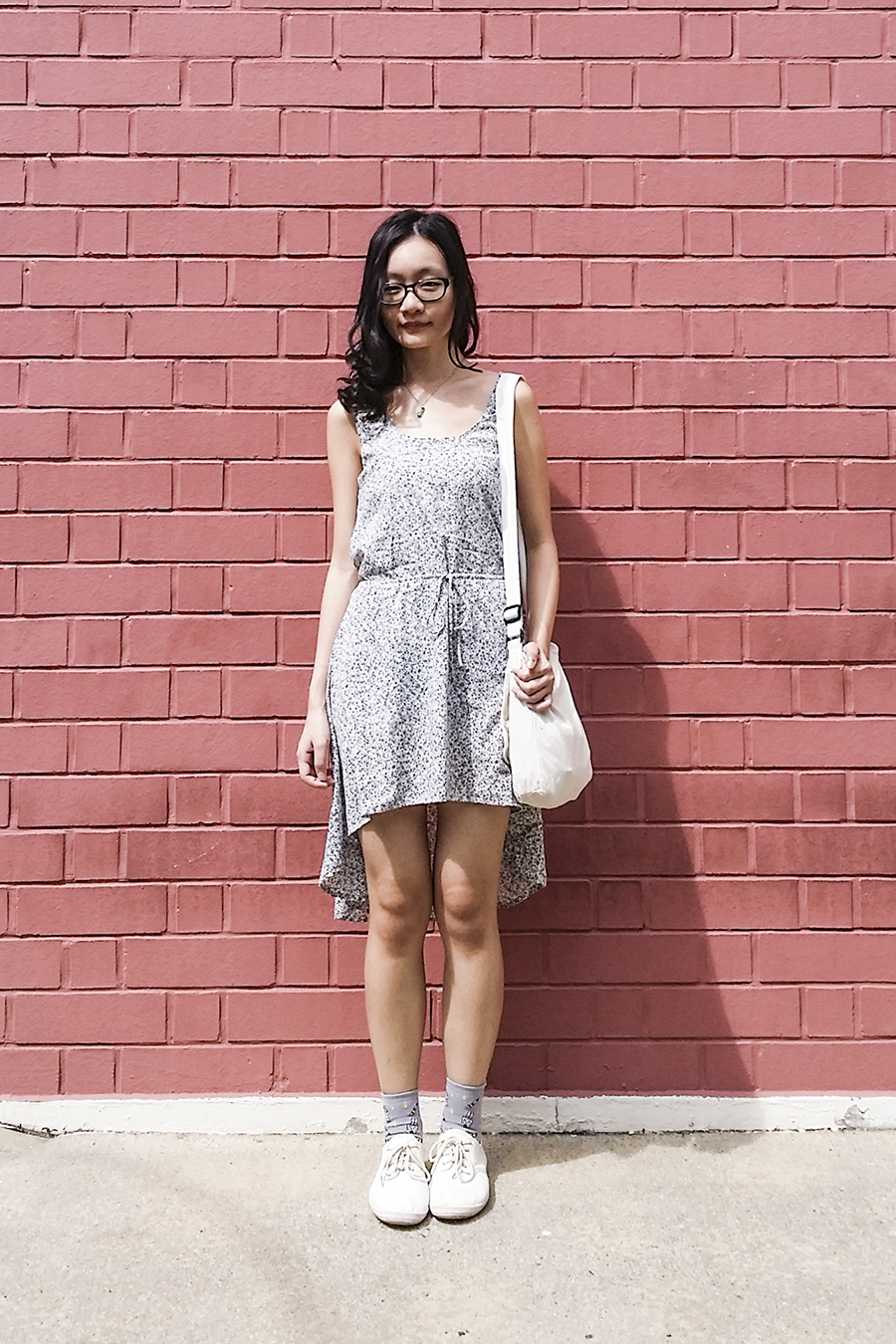 Gap black frame glasses, Modcloth bicycle print high low dress, canvas sling bag, Taobao grey spacemen in space socks, Cotton On tan lace-ups.