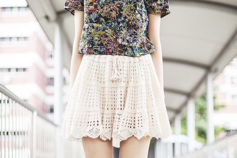 Love Sadie floral crop top c/o Shopbop, Boyholic lace skirt from Japan.