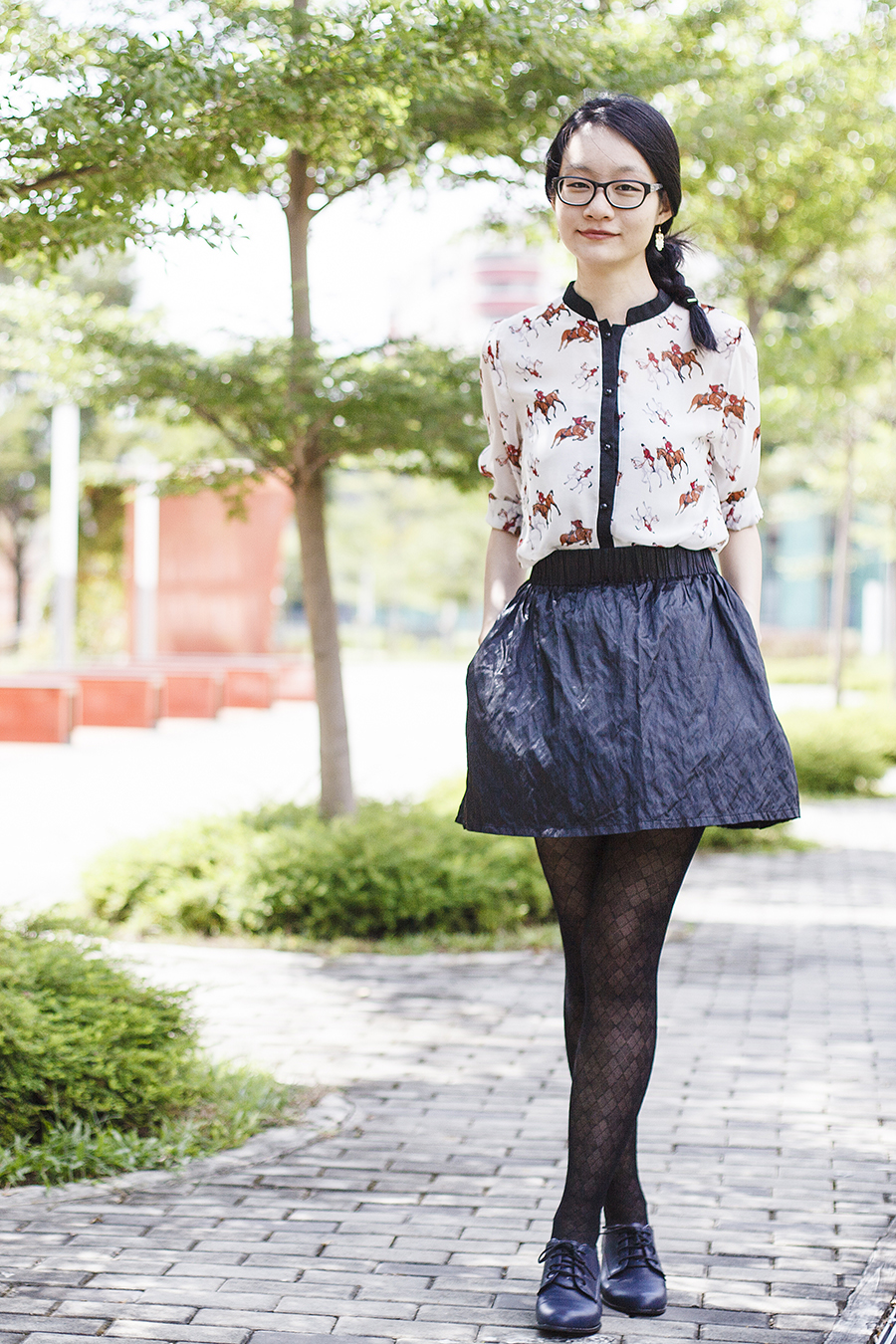 YRBFashion horse print chiffon blouse via Chictopia Connect, M)phosis black metallic skirt, black pattern sheer tights, navy oxford heels from Taobao, Gap black frame glasses.