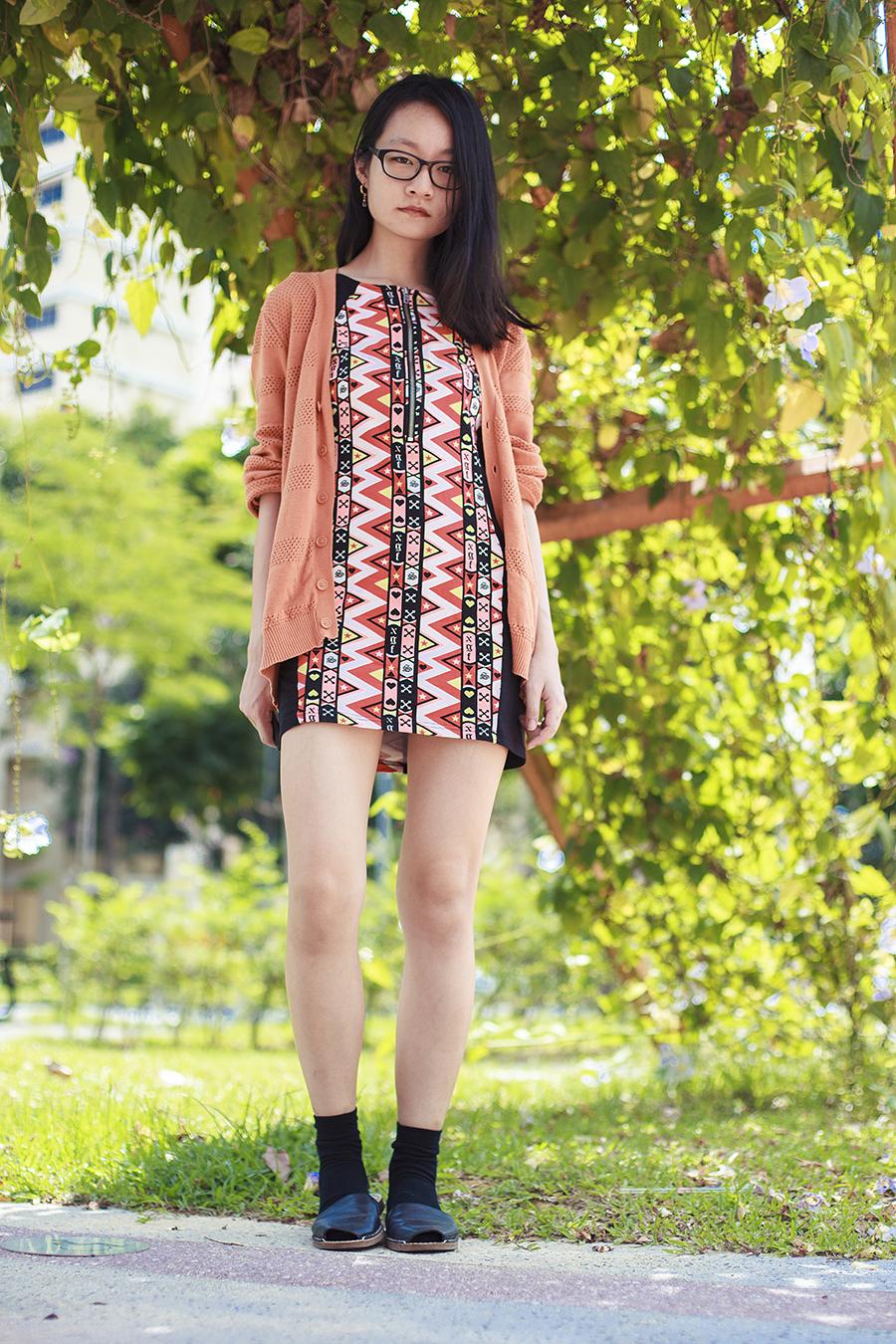 H&M neon zigzag party dress, Forever 21 orange oversized boyfriend cardigan, Gap black frame glasses, gold hoop earrings, Taobao black socks, Sam Edelman slingback sandals c/o Shopbop.