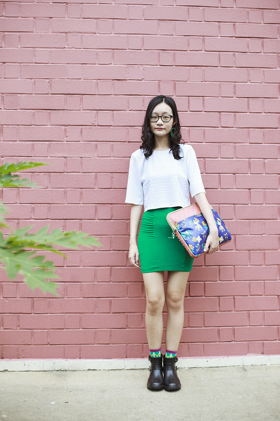 Bec & Bridge white textured crop top c/o Shopbop, Forever 21 green bandage skirt, Gap black frame glasses, Ggorangnae crocodile socks from Korea, Forever 21 faux jade dangle earrings, Mac pink lipstick, Fossil tribal print laptop sleeve.