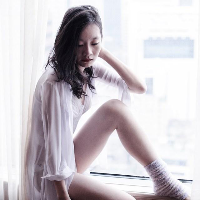 Vedette Shapewear white lace corset, M)phosis sheer white blouse., Tutu Anna pastel striped leg warmers.