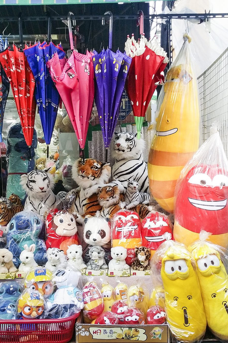 Toys and plushies on display in Dongdaemun market, Seoul, South Korea.