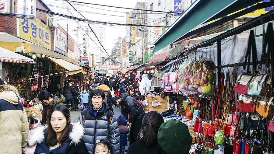 On the streets of Dongdaemun Market, Seoul, South Korea.
