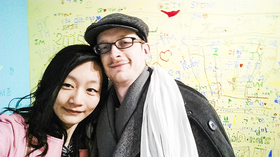 Couple selfie at Seoul Comics Space Zaemirang at Zaemiro Seoul Comics Road, South Korea.