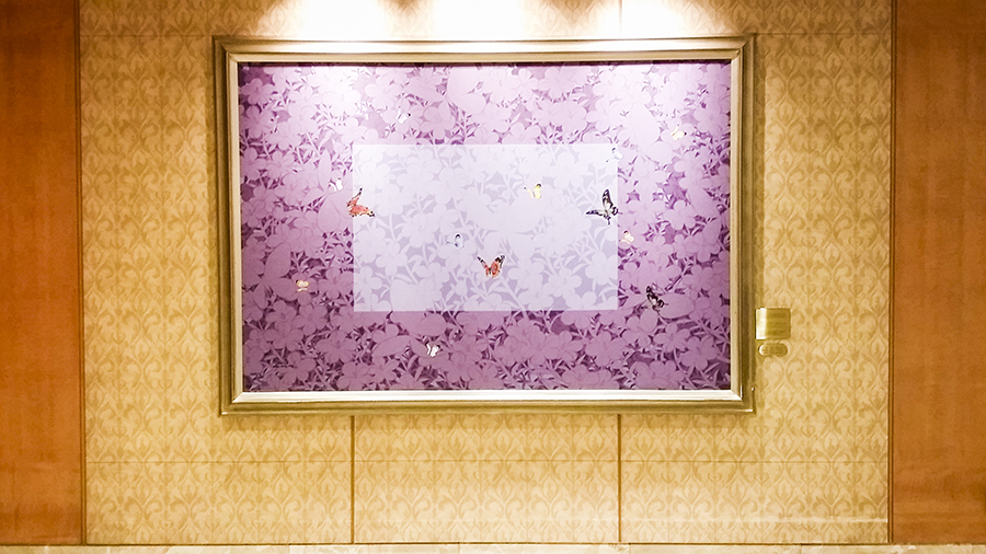 Big purple painting of butterflies at the Lotte Hotel, Myeongdong, Korea