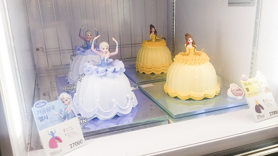 Elsa from Frozen cake and Belle from Beauty & The Beast cake from Baskin Robbins, Sangju, South Korea.